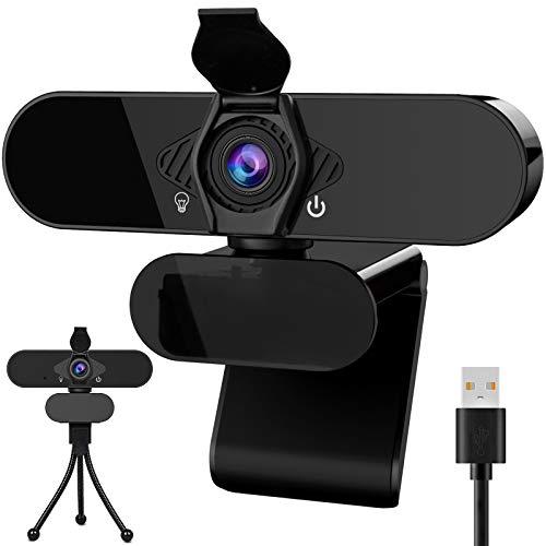 WARMQ Webcam HD 1080P mit Mikrofon, USB Webkamera PC-Laptop-Kamera Autofokus für Konferenzen, Videoaufnahme, Live Streaming, Videoanruf, Videokonferenz, Online-Unterricht (mit Webcam Abdeckung)