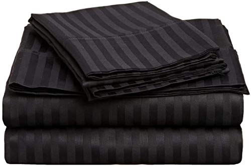 """GoodWin Linen Ultra Breathability & Softness 500-Thread-Count 100% Pima Cotton {4-PCs Sheet Set RV King Size} Easy to Fit 9-12"""" Inches Deep Pocket (Stripe, Black) - Machine Washable"""