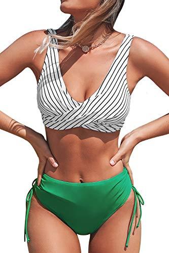 CUPSHE Damen Bikini Set Wickel Bikini Bademode Tunnelzug High Waist Zweiteiliger Badeanzug Swimsuit Grasgrün XL