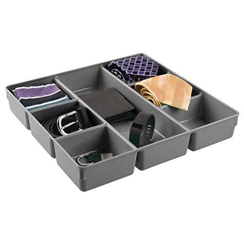 mDesign Organizer per cassetti in plastica – Pratico contenitore a scomparti con 7 caselle per un armadio sempre ordinato – Scatola portaoggetti ideale per gioielli, trucchi, cinture – grigio scuro