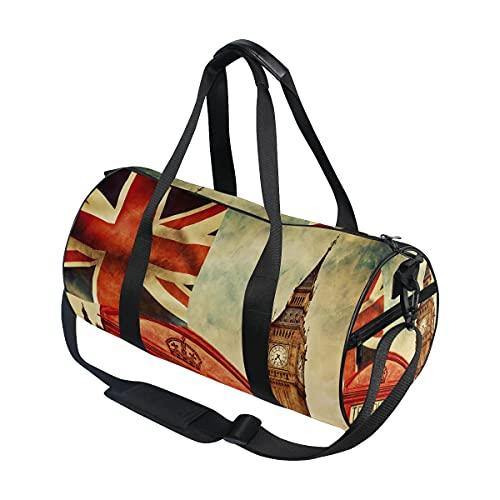 Bolsa de viaje retro de Londres, Big Ben Union Jack, bolsa de equipaje deportiva para hombres y mujeres