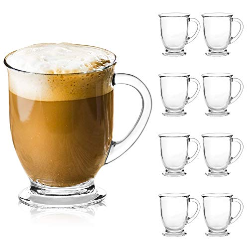 Glass Mugs,QAPPDA Clear Coffee Mugs With Handle 15 oz,Tea Mugs 450ml,Beer Glasses With Handle,Glass Cup Drinkware For Beverage,Juice,Latte Cups Cappuccino Mugs Beer Mug Water Cups Sets of 8 KTZB107…