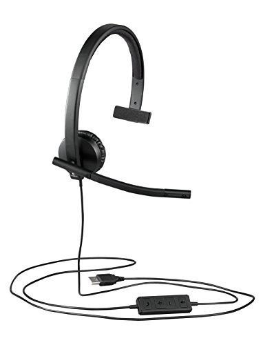 Logitech H570e Kopfhörer mit Mikrofon, Mono-Headset, Rauschunterdrückung, Lautstärkeregelung und Stummschaltung mit LED-Anzeige am Kabel, Ohrpolster aus Kunstleder, USB-Anschluss, PC/Mac/Laptop
