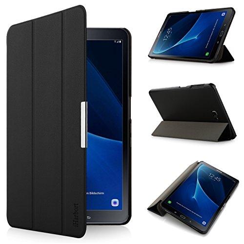 iHarbort® Hülle für Samsung Galaxy Tab A 10,1 (SM-T580/T585) - Samsung Galaxy Tab A 10.1 hülle Etui Schutzhülle Case Cover Holder Stand mit Smart Auto Wake/Sleep-Funktion (Schwarz)