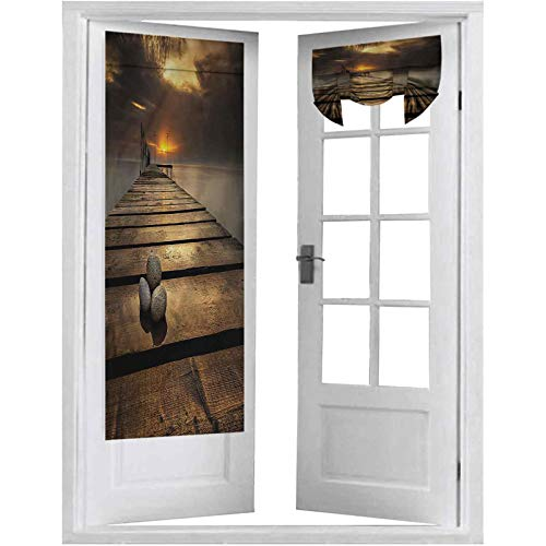 Blackout French Door Curtain, Ocean,Black Sea at Dusk Pier, 1 Panel-26' X 68' Thermal Insulated Window Treatment Curtain