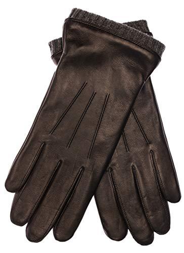 EEM Herren Leder Handschuhe BJOERN aus Lammnappaleder mit Strickstulpe und Fleecefutter; schwarz/anthrazit, L