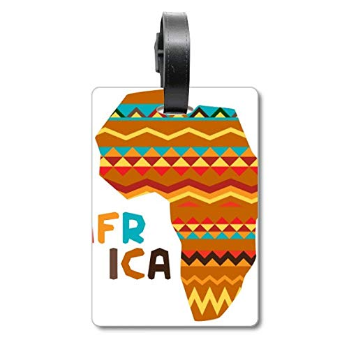 Africa Fancy Map Characters Stripes Cruise Suitcase Bag Tag Tourister Identification Label