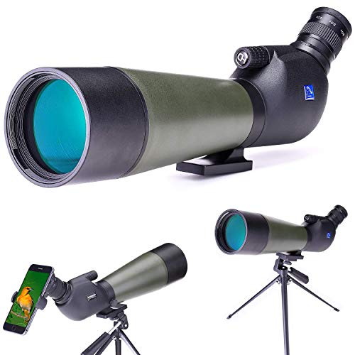 SKSNB Mira telescópica 2 - -60X80, telescopio de observación HD Resistente al Agua con trípode, Bolsa de Transporte y Adaptador para teléfono Inteligente para observación de Aves, Tiro.