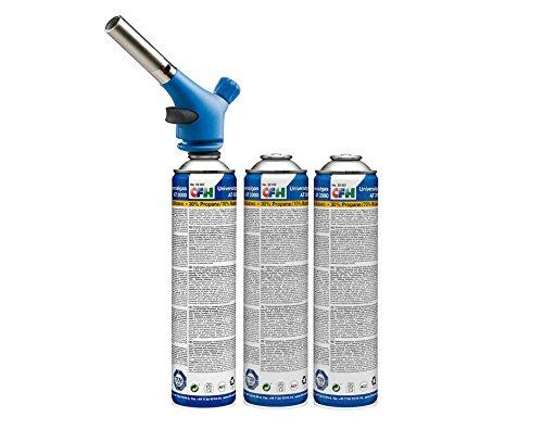 CFH Set Profi-Handlötgerät und 2x Universaldruckgasdose Lötset Löten Weichlöten