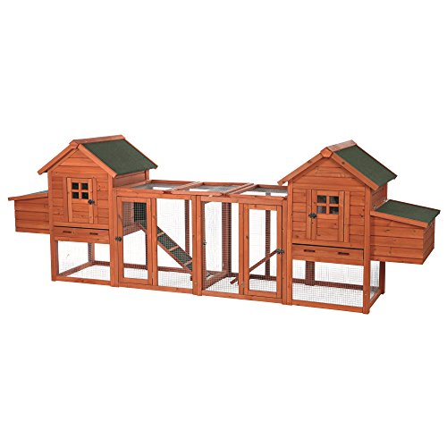 Trixie Pet Products 55968 Natura Chicken Duplex 2-Story XXL Coops and Runs, 123.5 x 27.5 x 42.5 inches, Brown