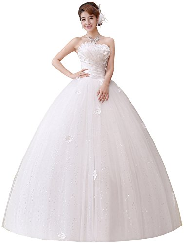 Clover Bridal 2017 Strapless Applique Beaded Pleats Ball Gown Wedding Dress Ivory (16)