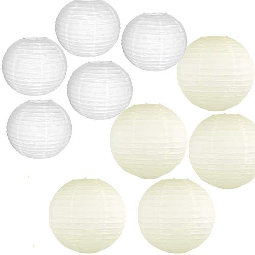 ZHAOFANGSTORE 10 piezas 12-14 pulgadas blanco beige chino japonés papel farol grande redondo boule lampion boda fiesta colgante DIY decoración