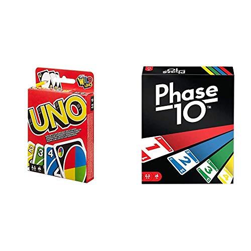 Mattel Games W2087 - UNO Kartenspiel und Gesellschaftspiel, geeignet für 2 - 10 Spieler, Kartenspiele und ab 7 Jahren + FPW38 - Phase 10 für 2 - 6 Spieler, und Kartenspiele ab 7 Jahren