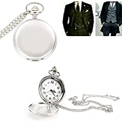 Smooth Vintage Steel Quartz Pocket Watch Classic Fob Pocket Watch with Short Chain for Men Women - Gift for Birthday Anniversary Day Christmas Fathers Day #4