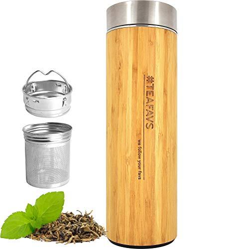 amapodo Trinkflasche Edelstahl Bambus 500ml isoliert mit Sieb, Tee Thermobecher to go