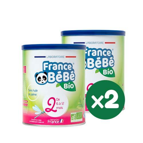FRANCE BéBé BIO - Lait infantile de suite bébé 2ème âge en poudre - Lait fabriqué en France - 13 Vitamines 12 Minéraux - Pack 2 boîtes de 400g