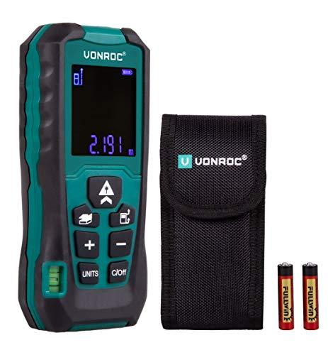 VONROC Medidor de distancia láser 60m VONROC | Mediciones de longitud, volumen, área, altura indirecta y distancia