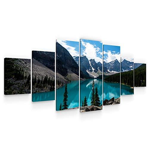 Startonight Grande Cuadro Moderno en Lienzo - Lago Claro Entre Las Montañas - Pintura Paisaje para Salon XXL Decoración 7 Piezas 100 x 240 CM
