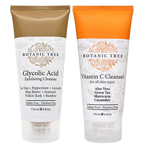 Botanic Tree Double Face Wash Kit - Gentle Facial Cleanser Set of Glycolic Acid Exfoliator Facewash And Vitamin C Cleanser for Women, Men - Natural Exfoliating Scrub Set for Oily, Dry, Sensitive Skin