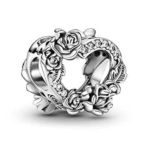 Annmors Rosa Flor Corazón abalorios de plata esterlina 925 calado con circonio cúbico para Pulseras