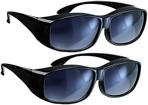 PEARL Brillenaufsatz: 2er-Set Überzieh-Sonnenbrillen Day Vision für Brillenträger (Überzieh-Brille)