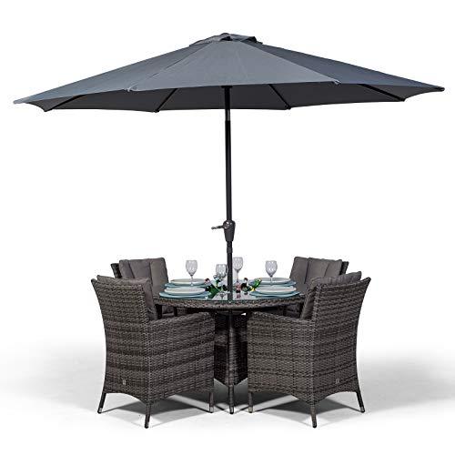 Savannah Rattan Gartenmöbel Set für 4 Personen Grau   Polyrattan Garten Möbel Sitzgruppe mit rundem Tisch, Getränkekühler und Sonnenschirm   Lounge Möbel Terrasse, Balkon Möbel Set   Mit Abdeckung