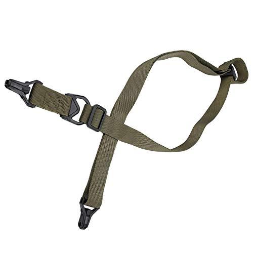 FOLOSAFENAR con un Bucle de Ajuste Transición rápida de configuración de un Solo Punto a Dos Puntos Cuerda de Arma Duradera y portátil Rifle de Caza de 1 o 2 Puntos, para Caza(Army Green)