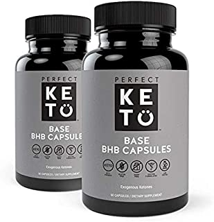 Perfect Keto Exogenous Ketones: Base BHB Salts Supplement for Ketogenic Diet Best to Support Weight Management & Energy, Focus and Ketosis Beta-Hydroxybutyrate BHB Salt (Unflavored Capsules - 2 Pack)