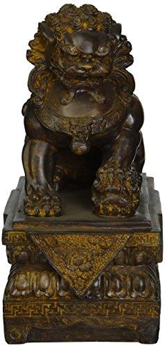 Design Toscano NY13668011 Statue de Chien Lion Foo gardien de temple chinois Bronze 18 x 11,5 x 23 cm