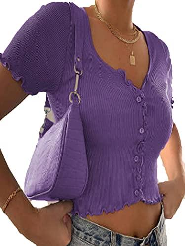 DELIMALI Camiseta de manga corta con cuello redondo para mujer, color sólido casual