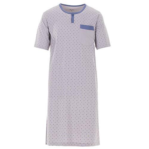Henry Terre Herren Nachthemd Kurzarm Knopfleiste mit Brusttasche Baumwolle Schlafshirt, Farbe:Grau, Größe:L