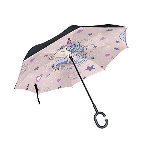 ISAOA großer, doppellagiger Regenschirm, umgekehrter faltbarer Regenschirm für Auto-Regen im Freien, C-förmiger Griff, selbststehend, Einhorn-Regenschirm