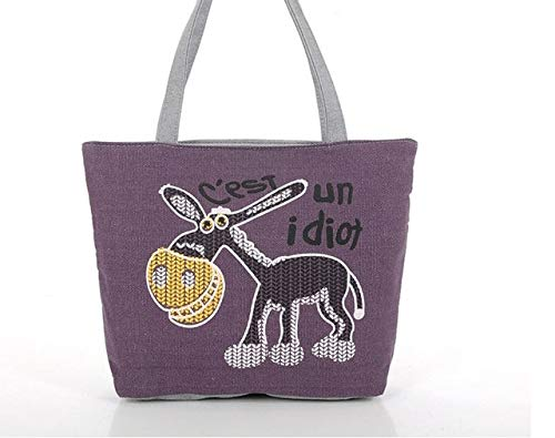 XTYZY Bolso de mujer con estampado de paisaje Pequeño burro de dibujos...