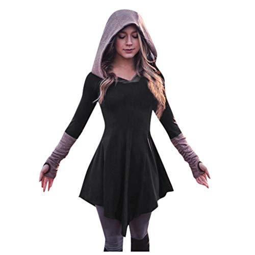 YEBIRAL Damen Mittelalter Pullover Kleid Hoodie Gothic Langarm Sweatshirts Kapuzenpullover Tops Halloween Karneval Kostüm