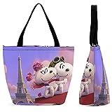 Snoopy - Bolsa de lona para mujer, gran capacidad, reutilizable, con cremallera, respetuosa con el medio ambiente, para la escuela, oficina