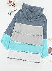 GOSOPIN Womens Casual Soft Cozy Pullover Tops Color Block Long Sleeve Tunic Sweatshirt Tops Drawstring Hoodie Blue Plus Size UK 18 #3