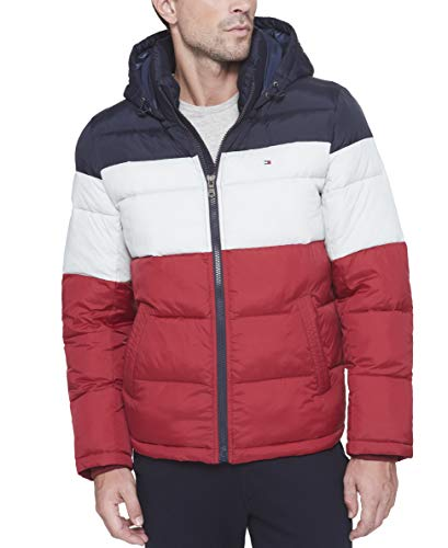 Tommy Hilfiger Men's Classic Hooded Puffer Jacket (Regular and Big & Tall Sizes), Midnight/White/Red, Large