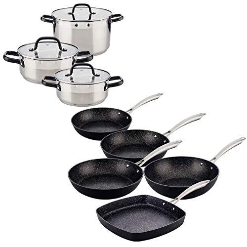 SAN IGNACIO Set de casseroles (30,24,28 cm) en acier inoxydable avec set de poêles (20,24,28 cm) avec wok et rôtissoire de 28 cm en aluminium forgé