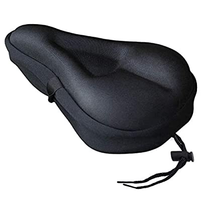 Gel Bike Seat Cover,Soft Exercise Bike Seat Cushion Cover,Bike Saddle Cushion with Water&Dust Resistant Cover for Women and Men - Great for Indoor Cycling Class and Stationary Bikes