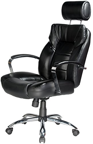 Comfort Products Commodore II Oversize Leather Chair with Adjustable Headrest, Black