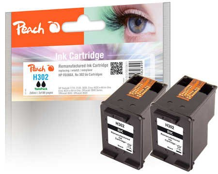 Peach Doppelpack Druckköpfe schwarz kompatibel zu HP No. 302, F6U66A