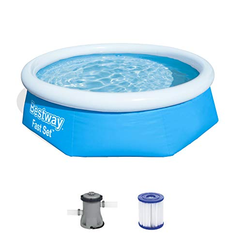 Bestway Fast Set Pool Set, rund 244 x 66 cm mit Filterpumpe, blau, Blau