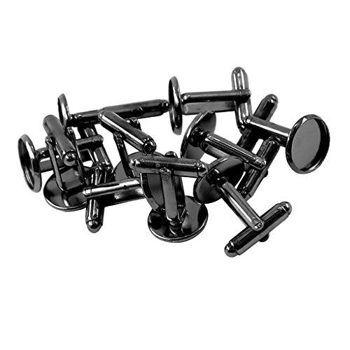 Sharplace 10er Set Manschettenknöpfe Rohlinge Fläche Silber Bronze Roségold Rohling für Schmuckherstellung - schwarz, 12 mm