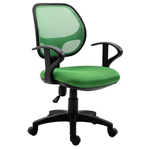 IDIMEX Kinderdrehstuhl Schreibtischstuhl Drehstuhl Bürodrehstuh COOL, 5 Doppelrollen, Sitzpolsterung, Armlehnen, in dunkelgrün