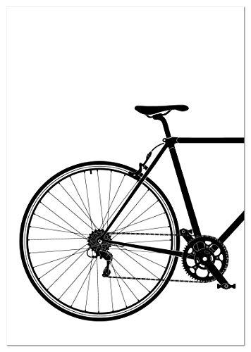 Panorama Póster Bicicleta Clásica en Blanco y Negro Parte Trasera 50x70cm - Impreso en Papel 250gr - Cuadros Decoración Salón - Pósters Decorativos - Cuadros Modernos