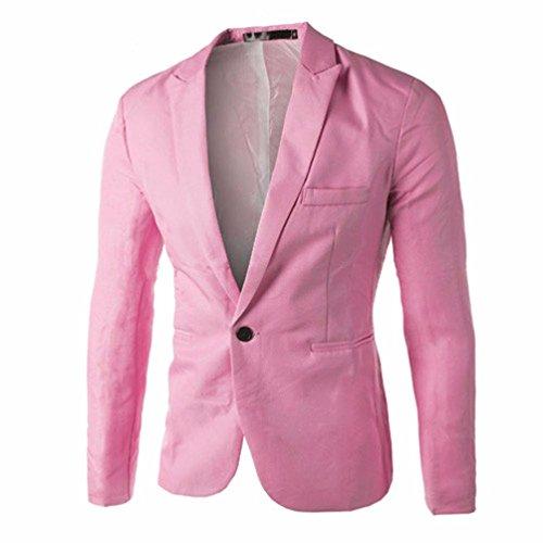 ESAILQ Bekleidung - Chaqueta de Traje - Básico - Cuello Redondo - Manga Larga - para Hombre Rosa Small