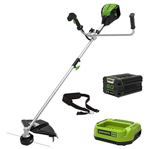 Greenworks Tools Cortacésped de 80 V, 40 cm, con batería de 2 Ah y cargador de 800 W, 5500 rpm, motor sin escobillas, mango de bicicleta, 2 en 1 con desbrozadora y cable, con cinturón