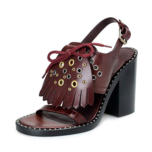 BURBERRY London Women's Beverley Leather Ankle Strap Heeled Sandals Shoes Sz US 6.5 IT 36.5 Burgundy