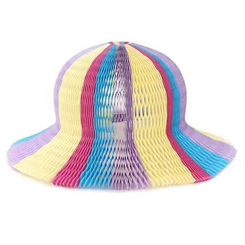 Luminiu Regenbogenfarben Wabenpapier Origami Sonnenhüte Falthut Gastgeschenke Mützen 6er Pack