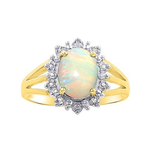 Juego de anillos de ópalo y diamante en oro amarillo de 14 K – inspirado en la princesa Diana Halo Desginer